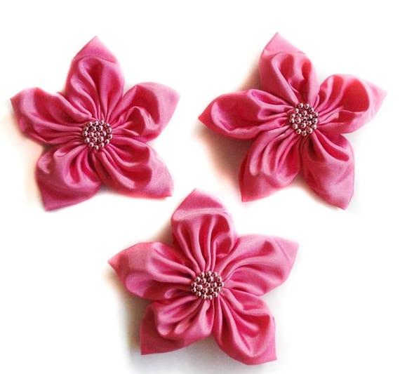 Sugar Pink Flowers Handmade Appliques Embellishments(3 pcs)