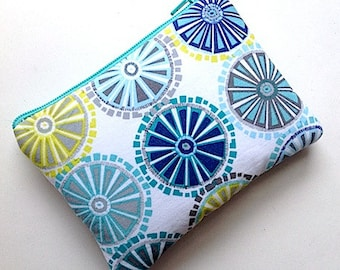 Zip Pouch Purse Gadget Coin Case Padded ABSTRACT WHEELS CIRCLES-yellow blu gray white green
