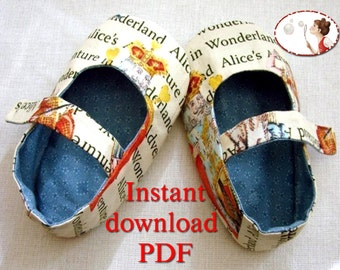 Sewing Pattern. PDF. Alice Baby Shoes for Wonderland walk