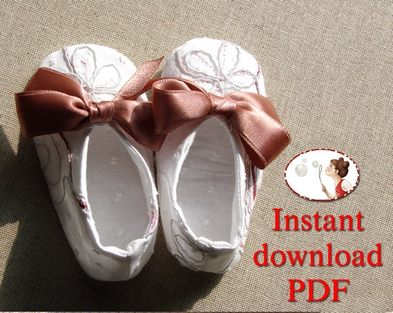 Sewing. Pattern. Baby. Bow. Ballerina. Shoes.  DIY.  PDF