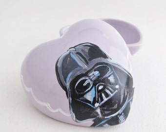 Darth Vader cameo portrait, hand painted on lilac heart box