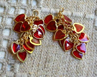 2 Earring Component Heart Clusters 32x22mm Red Gold Epoxy