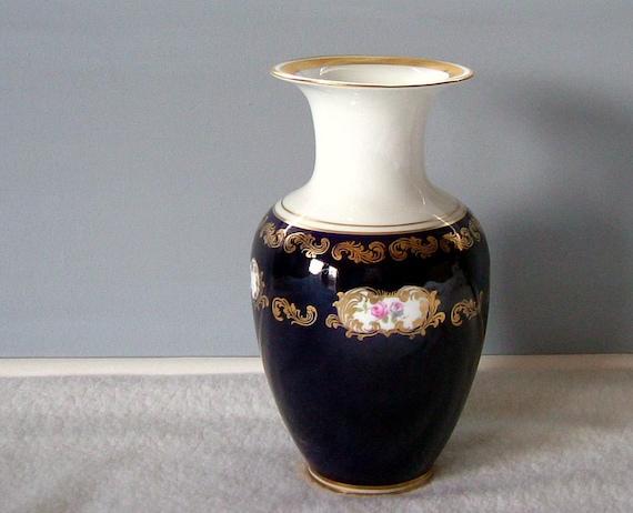 items similar to vintage reichenbach echt kobalt vase 8159k excellant condition 1980s floral. Black Bedroom Furniture Sets. Home Design Ideas