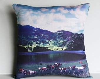 "eco friendly pillow decorative cushion, 16x16  VALLEY SCENE  organic cotton cushion cover, pillow, 16"", 41cms"