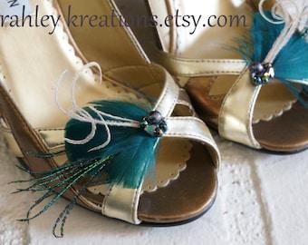 Bridal Wedding Shoe Clips Dark Teal Green Aqua Feathers Peacock Sword Herl Custom Beaded Cluster DEIDRA Bridal Bride Bridesmaid Shoes