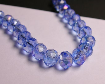 Crystal faceted rondelle - 72 pcs -  8 mm - AA quality - sparkle Ab blue  - full strand