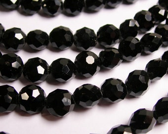 Crystal faceted oval round - 50pcs -  9 mm - AA quality - Black -18 inch strand