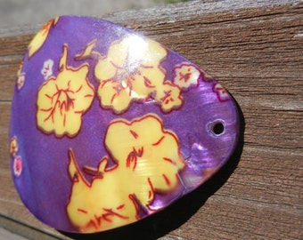 DESTASH, MOTHER OF Pearl, Abalone, Sale, Large, Purple, Yellow, Floral, One,Pendant