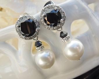 Bridal Earrings, pearl bridal earrings, bridal stud earrings, rhinestone stud earrings, swarovski earrings, wedding pearl earrings, NORMA