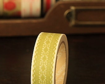 Tape-Washi Tape-Masking Tape-Single Roll-Flowers-Green Lace-Lace Tape