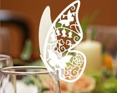 100 Butterfly Paper Place Card / Escort Card / Wine Glass Card Paper for Wedding Party