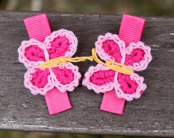 Pink Crochet Butterflies Hair Clips