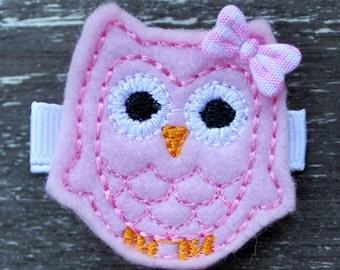 Light Pink Felt Owl Hair Clip - No Slip Barrette
