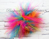 """Set of 5- Bright Rainbow Marabou Puffs- About 3""""-3.5"""""""