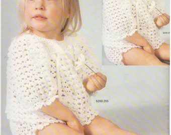 Crochet Pattern - Vintage 1970s Baby Sacque and Pants Set PDF Pattern - 5200-255 - Instant Download