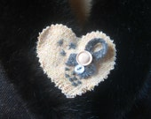 Harris Tweed Fabric Heart shaped Brooch -Pale Rose Pink and Grey. Fashion Accessory. Bridesmaid gift.