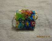 CLEARANCE: Colorful Glass Flower Beaded Wire Ring