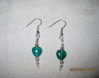 ON SALE: Green Rock Heart and Round Silver Bead Hook Earrings