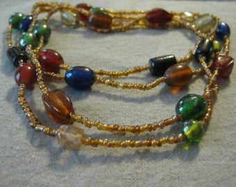 Extra Long Glass Beaded Necklace