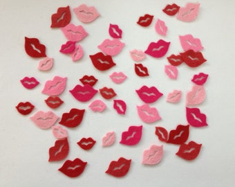 Wool Felt Lips 50 total Die Cuts - Pinks and Reds 2602 - Crochet Doll Lips - Dolls Lips
