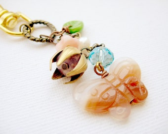 Light violet and orange carnelian butterfly charm with glass beads - Midsummer Magic