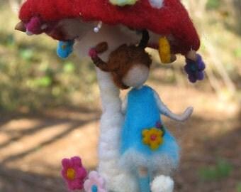 Needle felted waldorf inspired mushroom fairy