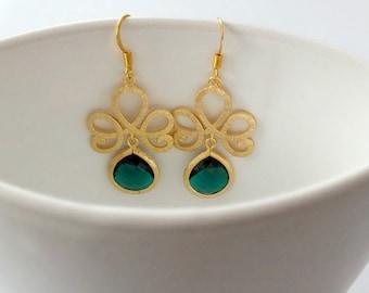 Emerald Earrings, Gold Lotus Flower and Emerald Drop Earrings - Also Available in Silver, Gold Lotus Swirl Earrings, Bridesmaid Earrings