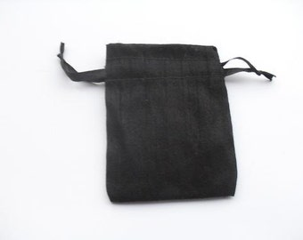 "100 Black Dupioni Silk drawstring Pouch 3"" X 4"" for stamping jewelry bath salts herbs handmade soap"