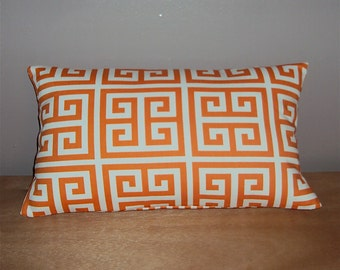 Orange Greek Key Decorative Lumbar Pillow Cover - 3 Sizes Available