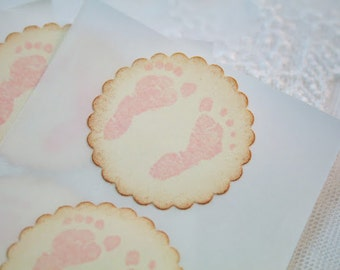 Pink Footprint Stickers Baby Girl Shower Stickers Birthday Envelope Seals Set of 12