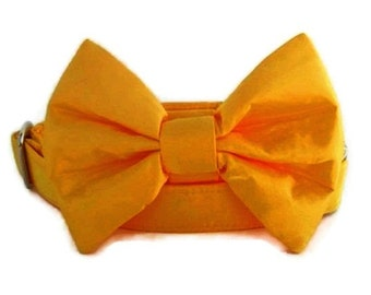 Satin Wedding Bow Tie Dog Collar - Sunflower Yellow