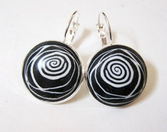 Stormy-Night Black and White Pair of Earrings by TovArtCreations
