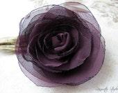 Wedding Hair Flower, Eggplant Purple/Plum Chiffon Hair Flower, Bridal Accessory