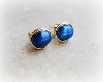 Royal Blue Studs, Freshwater Pearl Stud Earrings, Cobalt Post Earrings, Gold Filled Wire Wrap Studs, Bright Blue Earrings,Blue Stud Earrings