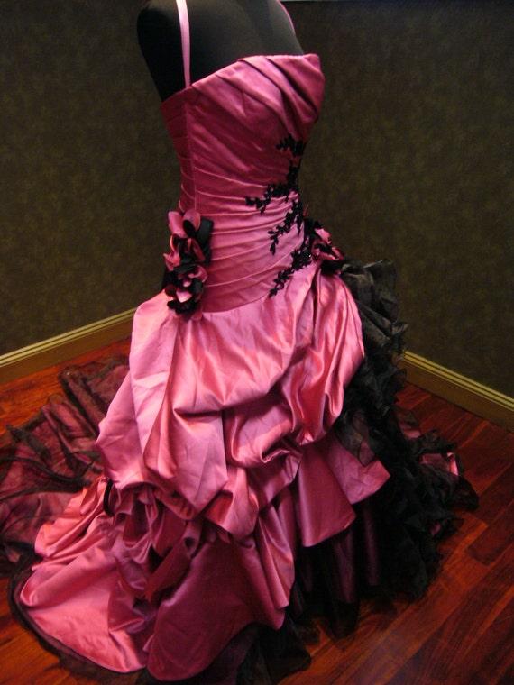 pink and black wedding dress | Wedding