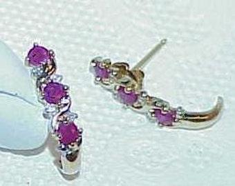 10K .33ct 6 Ruby 8 Diamond Post Earrings Yellow Gold 1/2 Hoop Vintage