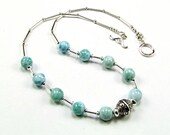 Gorgeous Larimar Sterling Silver Statement Necklace - N640
