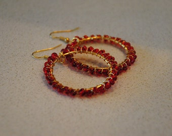 Red Wire Wrapped Hoop Earrings