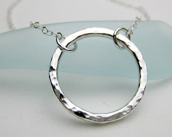 Sterling Silver Hammered Circle Pendant, Fixed Chain