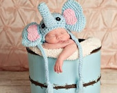 Instant Download PDF Easy crochet pattern elephant hat  with earflap-  sizes 0-3 month only-etsy