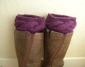 Purple Boot cuffs - Cable knit boot toppers  - Winter Fashion Accessory - Warm - Cozy - Legwarmers - Winter accessory