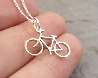 Teeny Tiny Sterling Silver Handmade Bicycle Pendant
