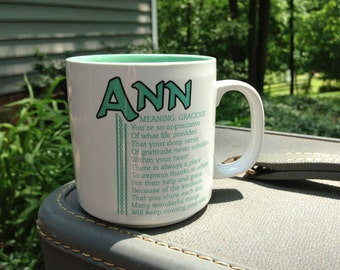 Vintage Name Mug Ann Letters InStyle Magazine Idea Poetry