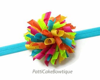Tropical Dreams Korker Hair Bow, Korker Bow, Turquoise Headband, Hair Bow Headband, Corker Bow, Korker Hair Clip, Toddler Hair Bow, 809