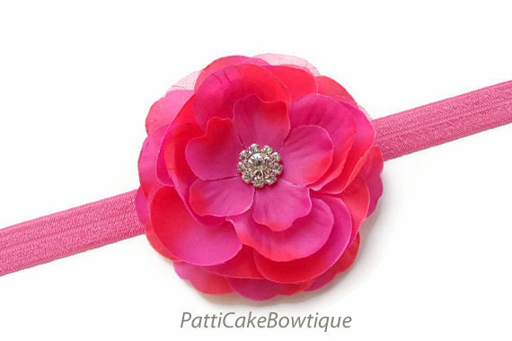 Toddler Headband, Hot Pink Flower Headband, Baby Headband, Pink Headband, Infant Headband, Baby Girl Headband, Newborn Headband, Hair Clip