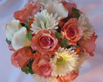 Coral Reef Bridal Bouquet Set, Coral Reef Wedding Flowers, Coral Reef Bouquets