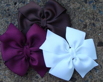3 Large 4 inch Pinwheel Hair Bows You Pick Colors