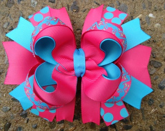 Pink and Turquoise Hair Bow Summer Hair Bow