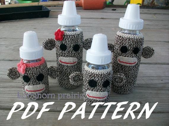 Sock Monkey Baby Bottle Cover crochet PATTERN PDF (instant download)