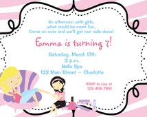 Spa Birthday Party Invitation nail party manicure party  spa party mani pedi